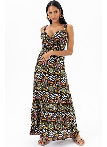 Emjey Metal Askılı Desenli Elbise Haki